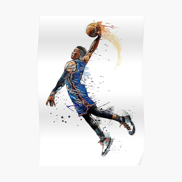 Russell Westbrook Dunking - Art Poster