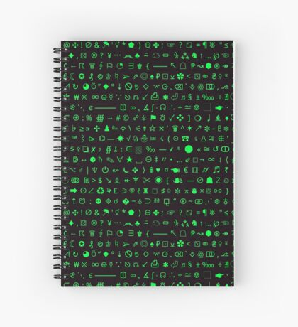 Esoteric symbols notebook - Unicode special characters - green/terminal Spiral Notebook