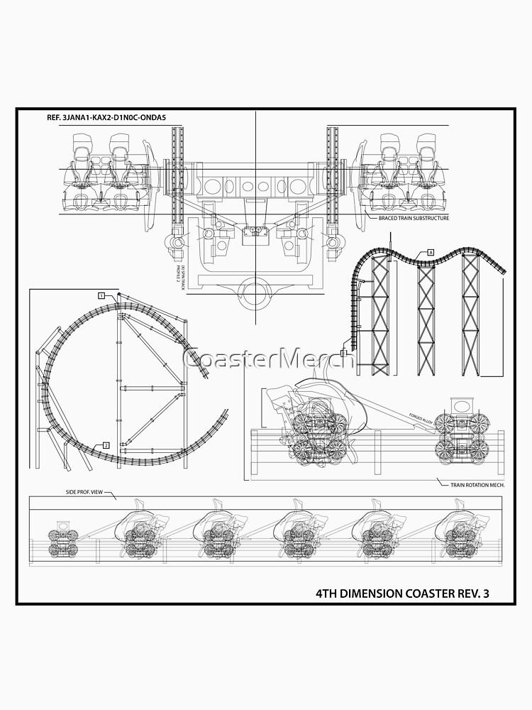 Arrow/S&S 4 Dimensional Coaster Blueprint - Black by CoasterMerch