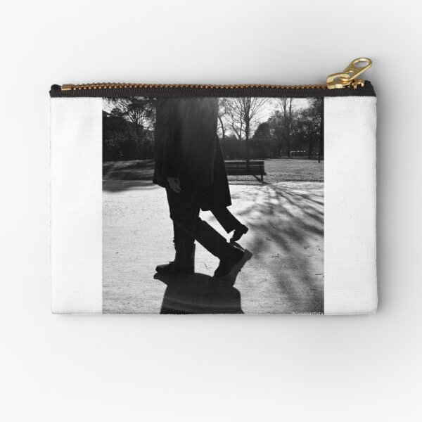 day sleepwalkers in the city park (black and white photography) Zipper Pouch