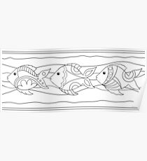 Just Add Colour - Funki Fish Border Poster