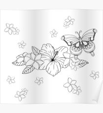 Just Add Colour - Tropical Butterfly Poster