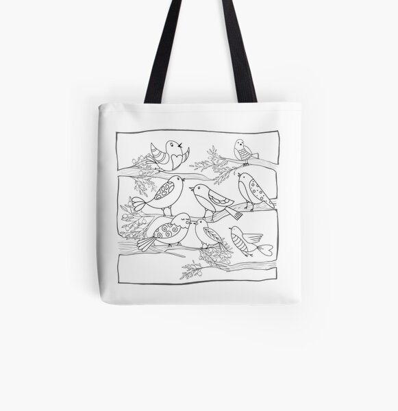 Just Add Colour - Birds of a Feather All Over Print Tote Bag