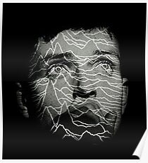 Ian Curtis - Joy Division. Unknown Pleasures Overlay Poster