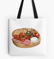 Mediterranean Mixed Antipasti on a Wooden Board Tote Bag