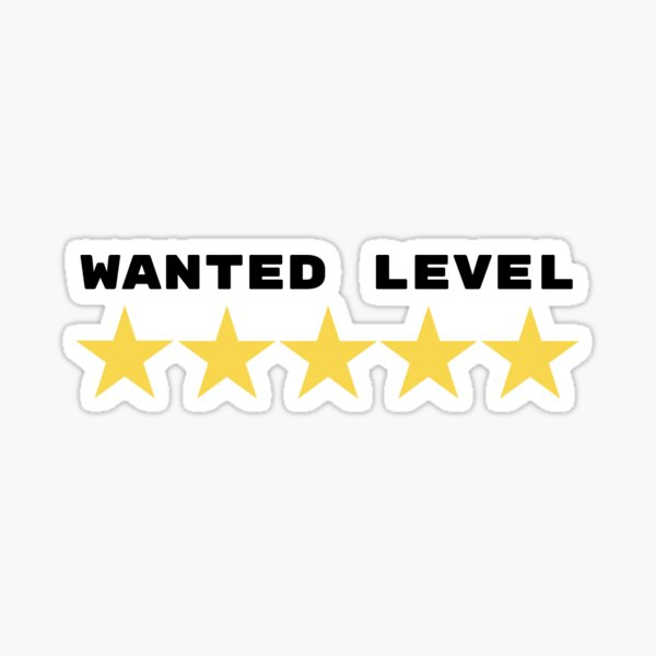 Wanted Level 5 Stars Sticker