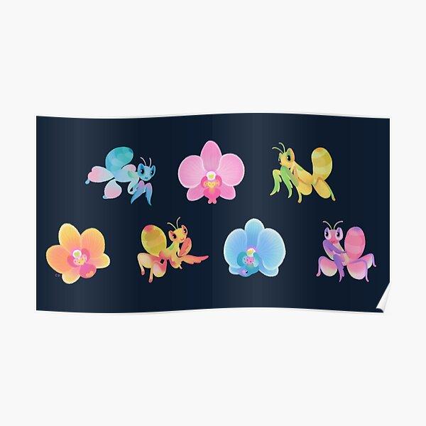 Orchid mantis - dark Poster