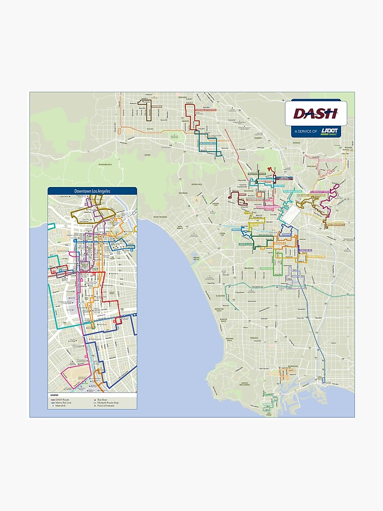 United States of America - Los Angeles - Ladot Dash Map - HD | Photographic on map of america mexico, map of america newark, map of america grand canyon, map of america alaska,