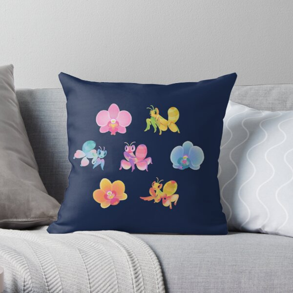 Orchid mantis - dark Throw Pillow