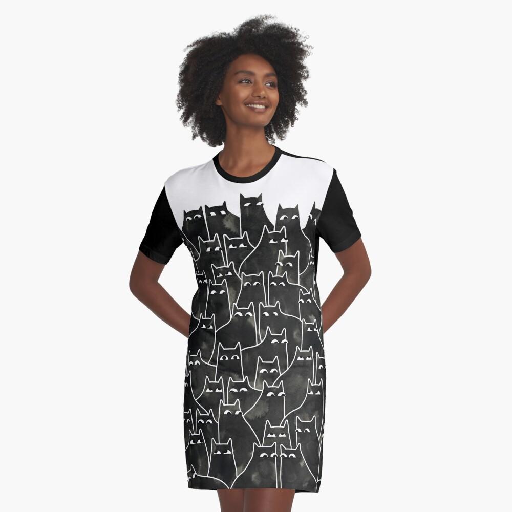 Suspicious Cats Graphic T-Shirt Dress