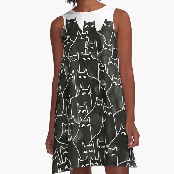 Suspicious Cats A-Line Dress