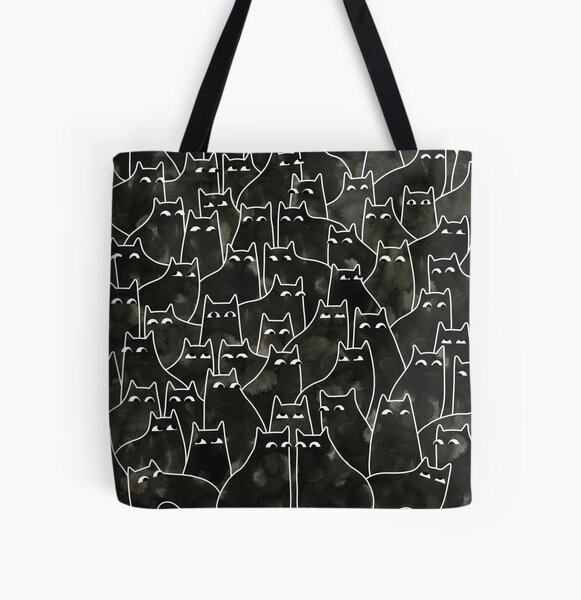 Suspicious Cats All Over Print Tote Bag