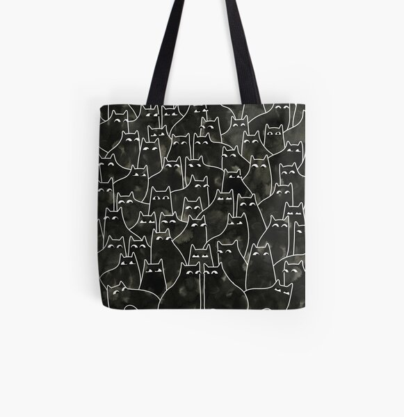 Suspicious Cats All Over Print Tote Bag