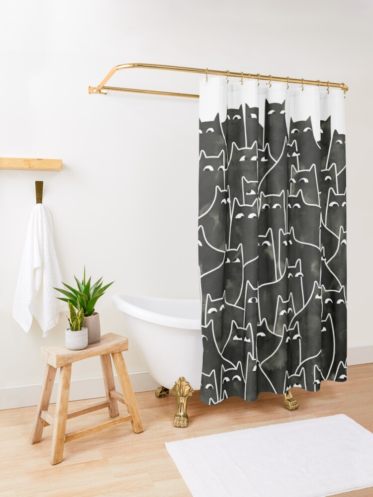 Alternate view of Suspicious Cats Shower Curtain