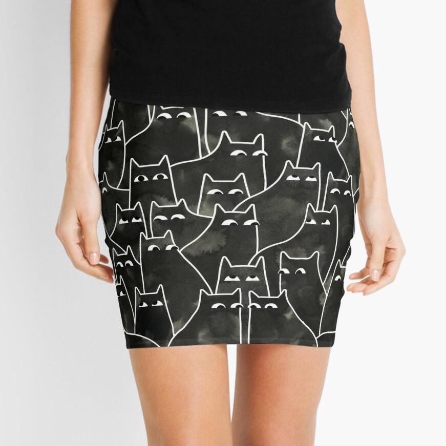 Suspicious Cats Mini Skirt