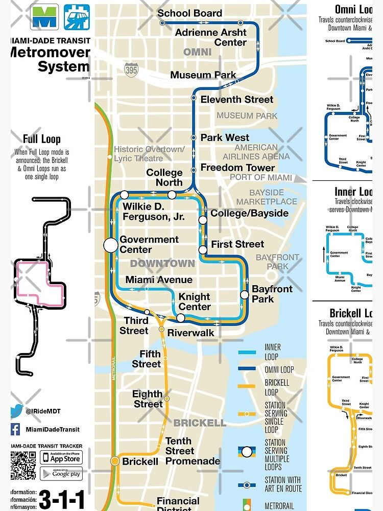 Miami Mapa Estados Unidos.Estados Unidos De America Miami Metromover System Map Hd Cuaderno De Espiral