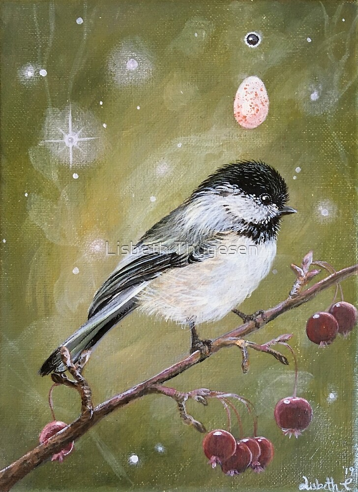 Black Capped Chickadee by Lisbeth Thygesen