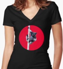 Indri indri sitting in the tree Fitted V-Neck T-Shirt
