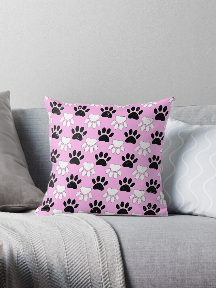 \'Black And White Dog Paw Print Pattern\' Throw Pillow by Braznyc