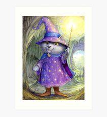 Purlin the Grey - wizard cat Art Print