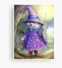 Purlin the Grey - wizard cat Metal Print