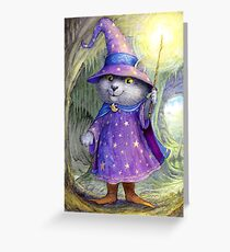 Purlin the Grey - wizard cat Greeting Card