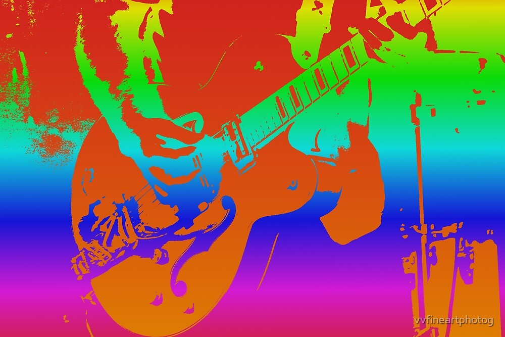 Rainbow Electric Guitar by vvfineartphotog