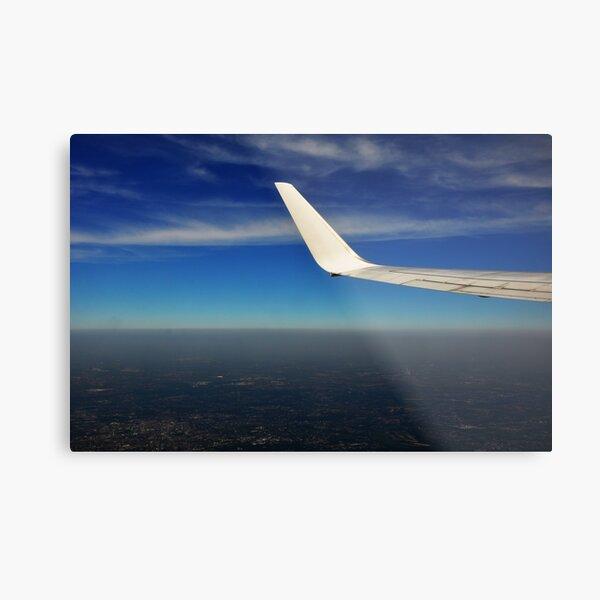 plane wing, blue sky, Metal Print