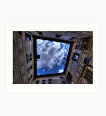 The clouds of Cesky Krumlov framed. Art Print