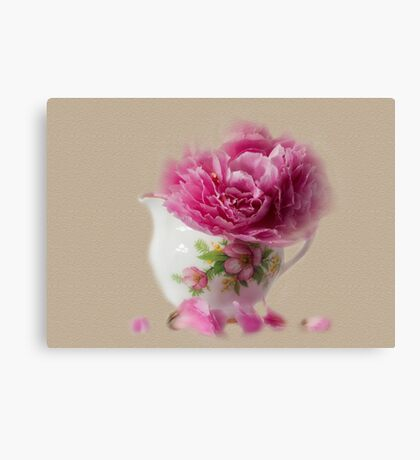 Little jug and peony Canvas Print