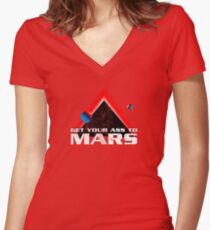 Get Your Ass to Mars Women's Fitted V-Neck T-Shirt