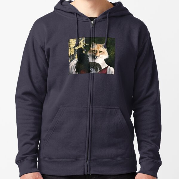 The Fox and the Cheese - Aesop's Fable Zipped Hoodie