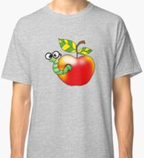 Smart bookworm with red apple Classic T-Shirt