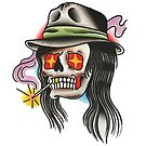 Traditional Long Haired Smokin' Skull Tattoo Design by FOREVER TRUE TATTOO