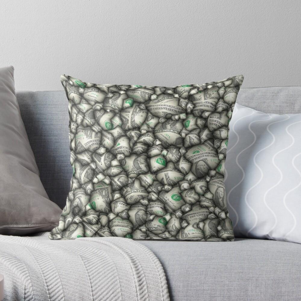 Abstract 3D Dollars Throw Pillow