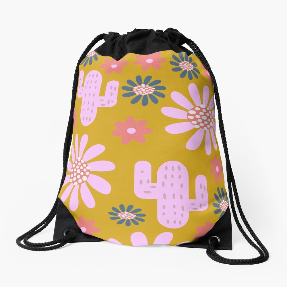 Nursery cactus decor Drawstring Bag