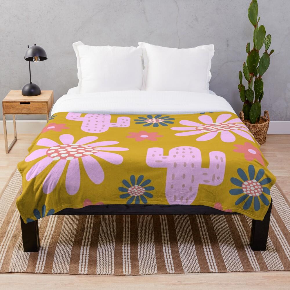 Nursery cactus decor Throw Blanket