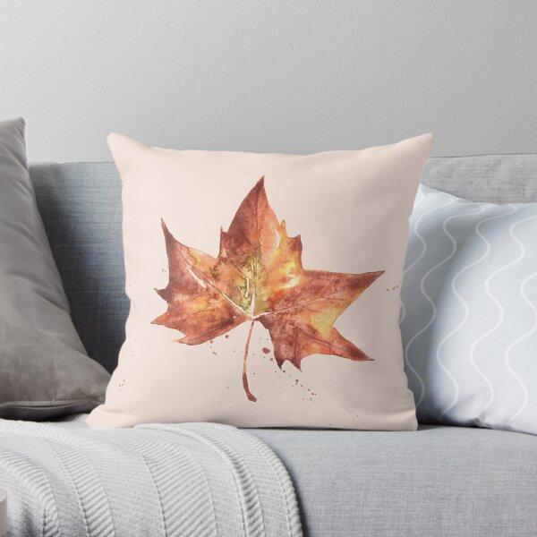 Hoja de otoño a acuarela  Cojín