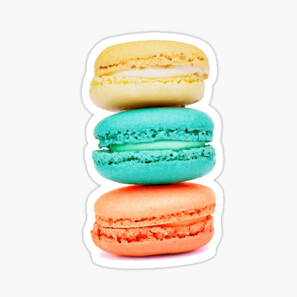 Stack of Macarons - Coral Aqua and Yellow Sticker