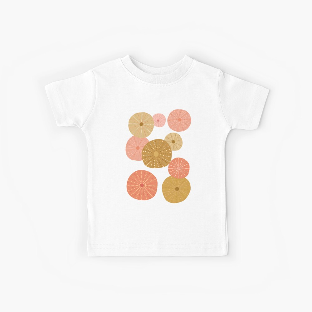 Sea Urchins in Gold + Coral Kids T-Shirt