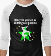 INSPIRING SUPER STAR GYMNAST Men's Baseball ¾ T-Shirt