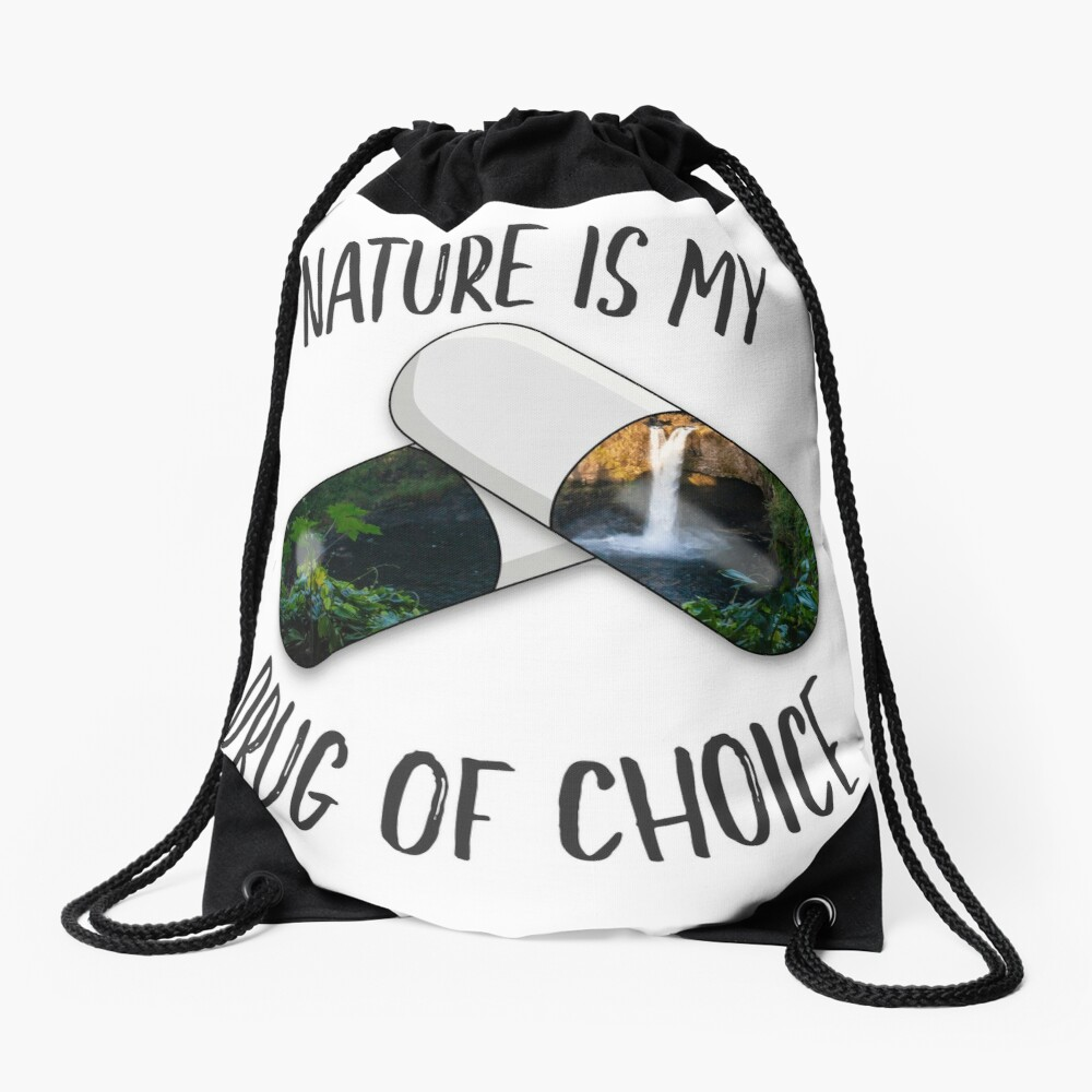 Nature is my Drug - Falls Drawstring Bag