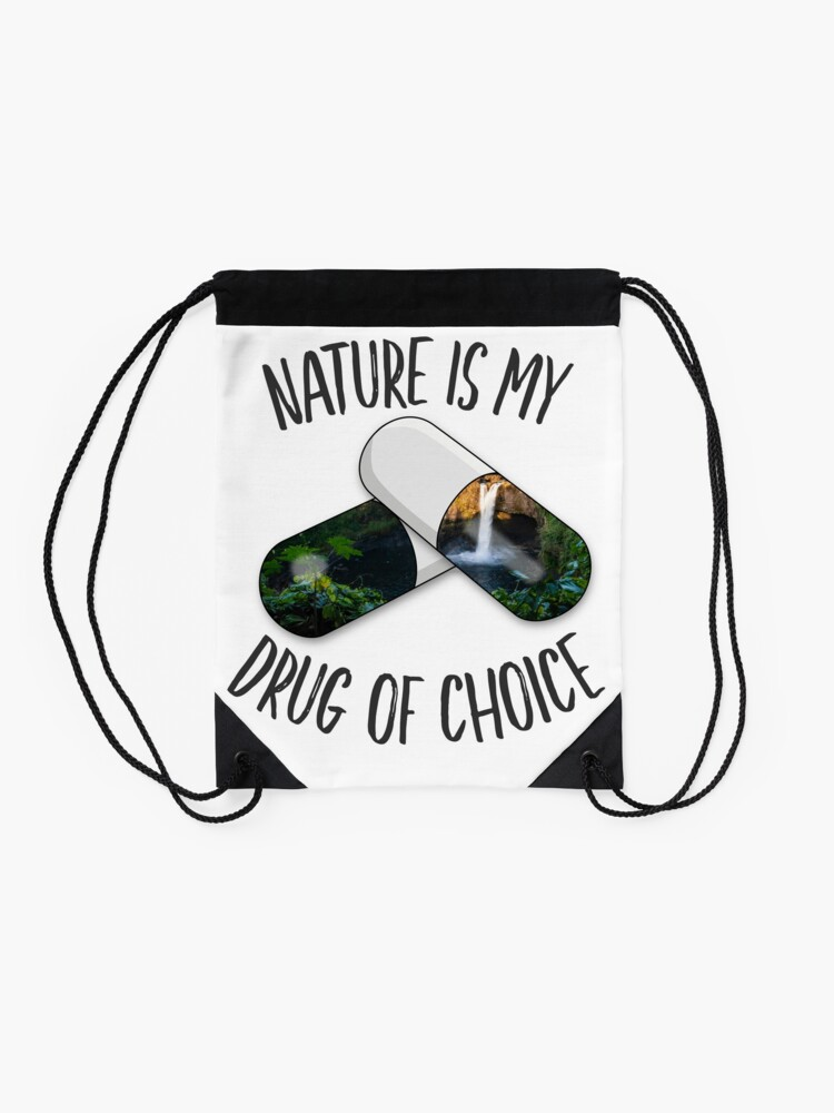 Alternate view of Nature is my Drug - Falls Drawstring Bag