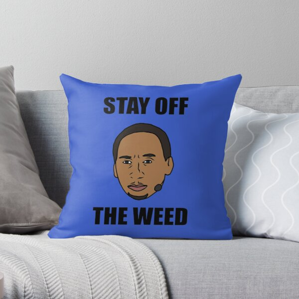 """Stephen A. Smith """"Stay Off The Weed"""" Throw Pillow"""