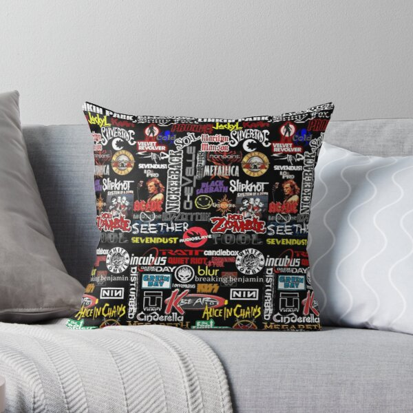 Rock n Roll Bands Throw Pillow