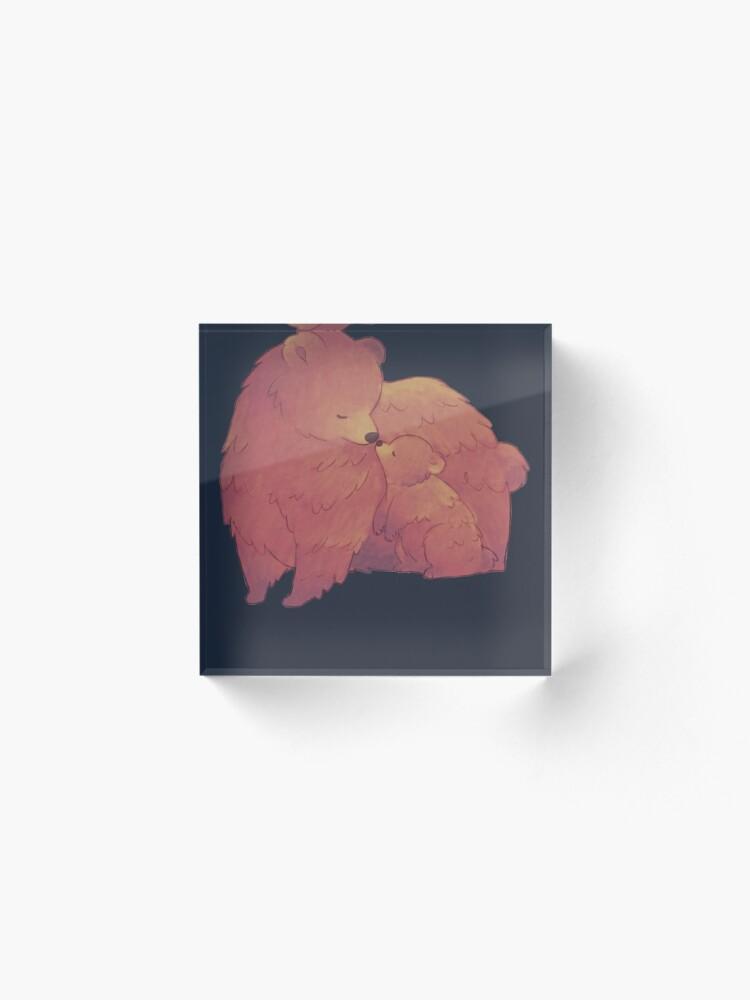 Alternate view of Mama Bear & Cub - [Dark BG] Acrylic Block
