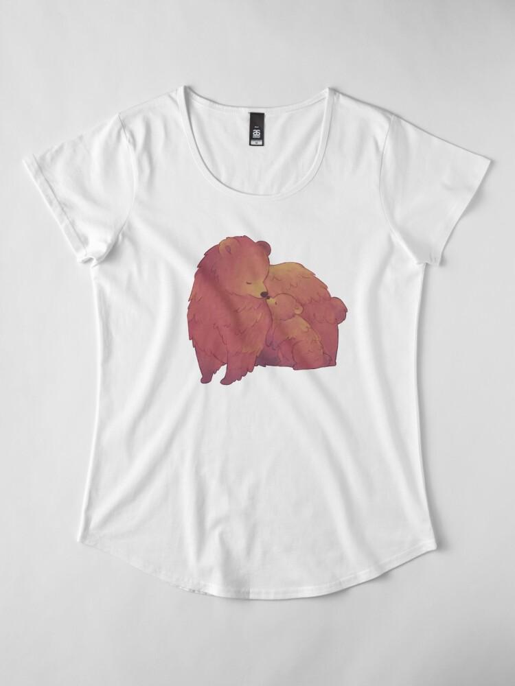 Alternate view of Mama Bear & Cub - [Dark BG] Premium Scoop T-Shirt