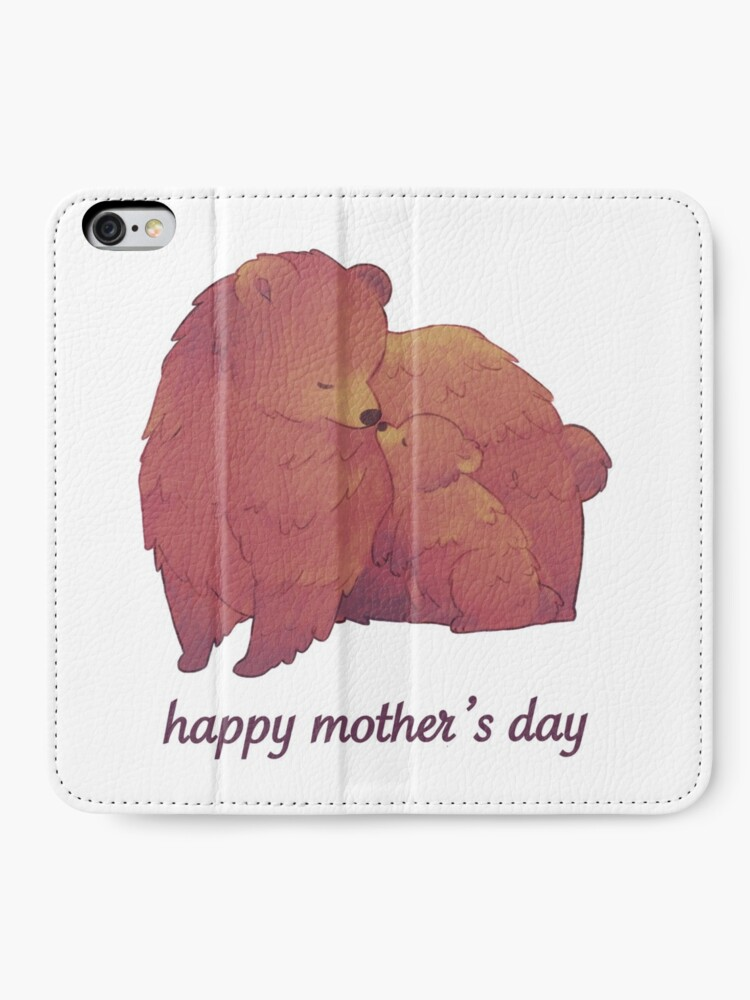 Alternate view of Happy Mothers Day - Mama Bear & Cub [Light BG] iPhone Wallet