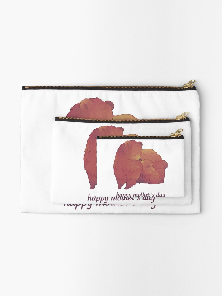 Alternate view of Happy Mothers Day - Mama Bear & Cub [Light BG] Zipper Pouch