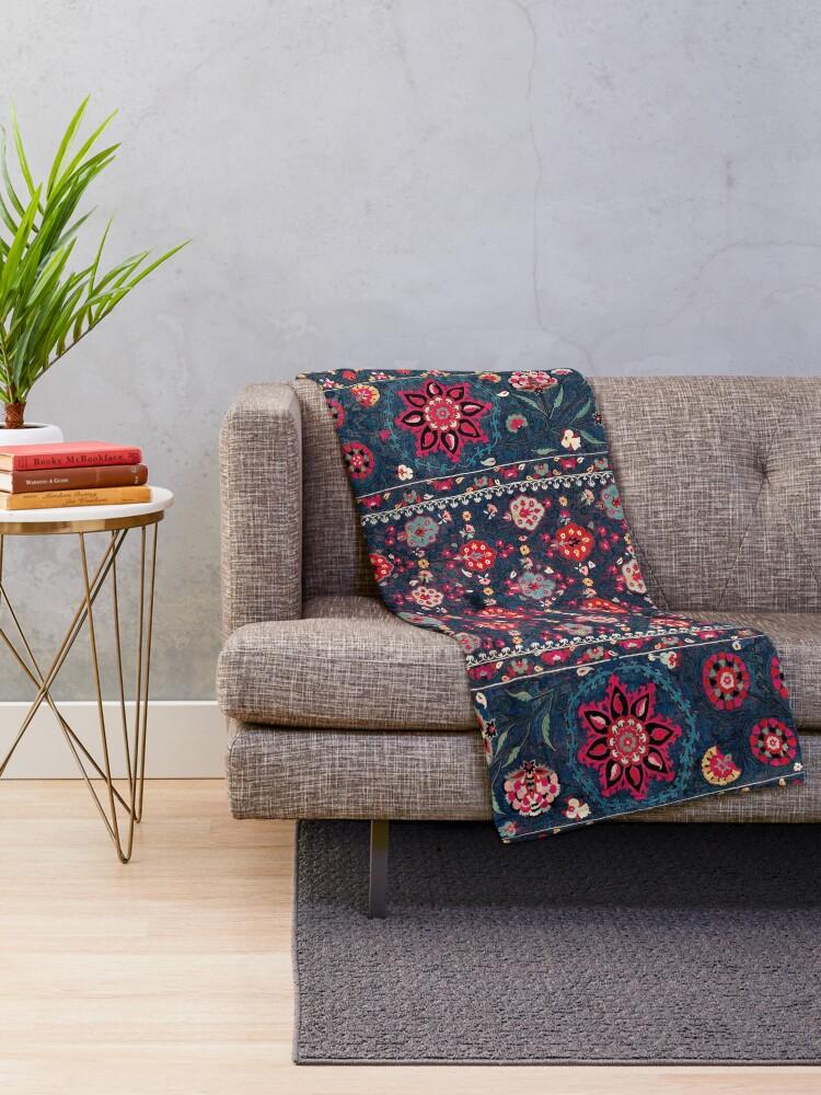 Alternate view of Lakai Suzani Shakhrisyabz Uzbek Embroidery Print Throw Blanket